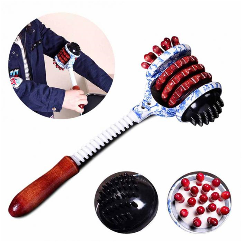 1pc Wine Red Wheel Massage Hammer Knock Back Beat Fitness Hammer Wood Health Meridian Shot Massage Stick