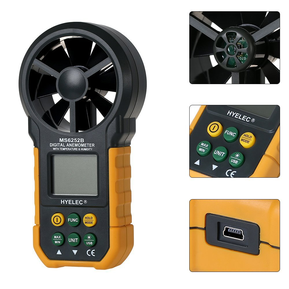 HYELEC MS6252B Digital Anemometer Wind Speed Air Volume Humidity Measurement Tester Backlight Display Support USB Real Time peakmeter ms6252b digital anemometer air speed velocity air flow meter with air temperature humidity rh usb port