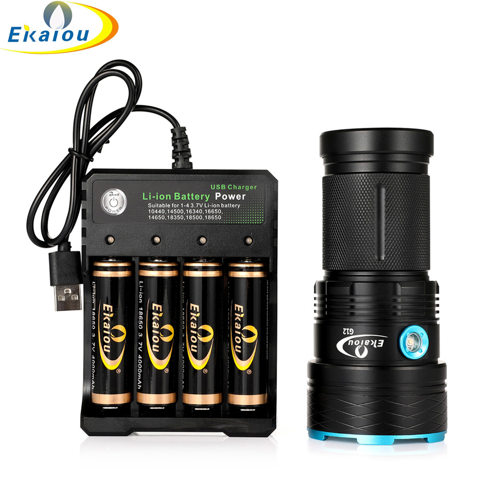 New Waterproof 3 Mode LED Flashlight 12x T6 Tactical Flashlights Hunting Torch & 18650 Battery And Charger