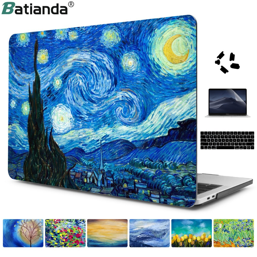 "Starry Night Oil Oil Sleeve For Air 11 13 Pro Retina 13 ""15"" Touch Bar Crystal Clear Hard Back Cover Պաշտպանական պայուսակ A1706"