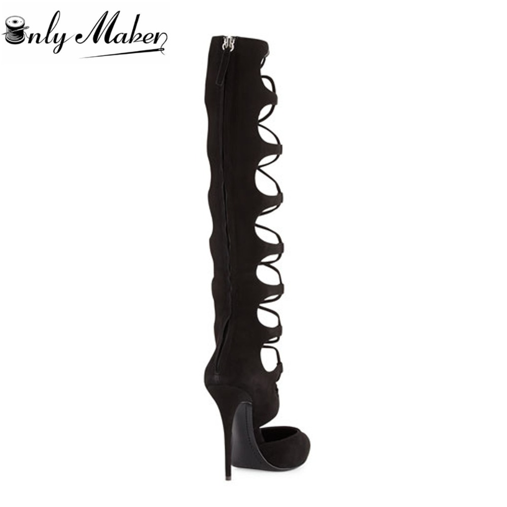 dd1337612d Onlymaker Womens Long Strap Lace Up Knee High Boots Sandals Woman Stiletto  Heel High heel Pointed Toe Sandals Shoes Size US5~15-in Women's Sandals  from ...