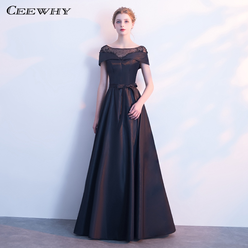 CEEWHY Scalloped Satin Long Formal Dress Black Evening Dress Beaded Mother of the Bride Dresses Robe de Soiree Abendkleider