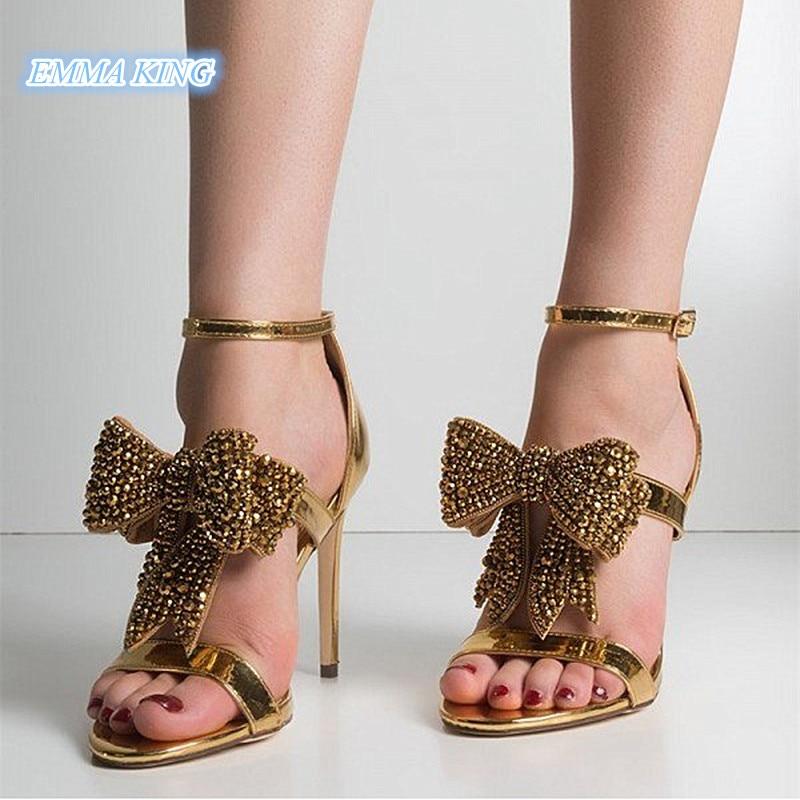 0cdd940f3 Ouro Couro Salto Patente Cinta De Fivela 2019 Aberto Senhoras Sandálias  Dedo Arco Tornozelo Sapatos Alto ...