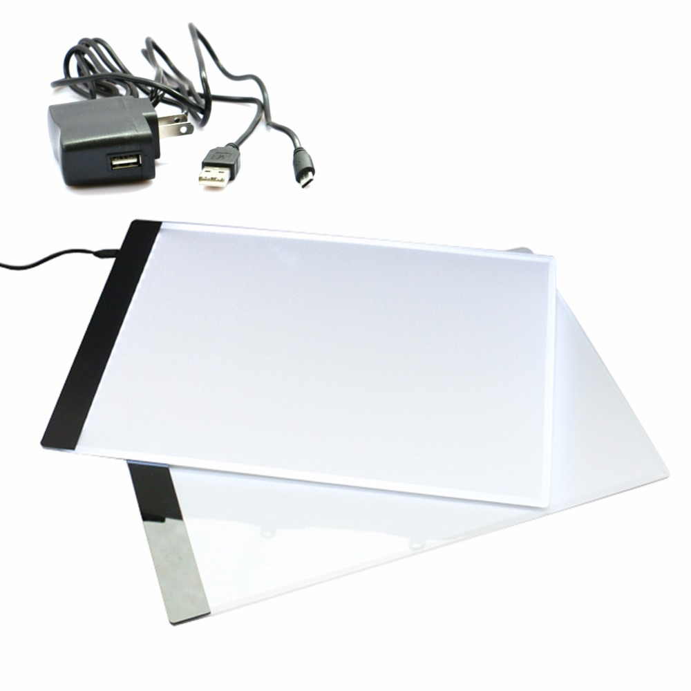 4mm A4 Drawing Copy Board Palette LED Light Write Tracing Pad 23.3X33.5CM Without Radiation White Color EU US AU UK Adapter