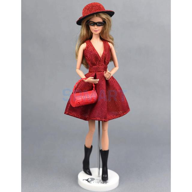Elegant Red Dress Hat Black Boots Glasses 6pcs Suit Clothes for Barbie Doll  Dating Party Outfit fffa325546e