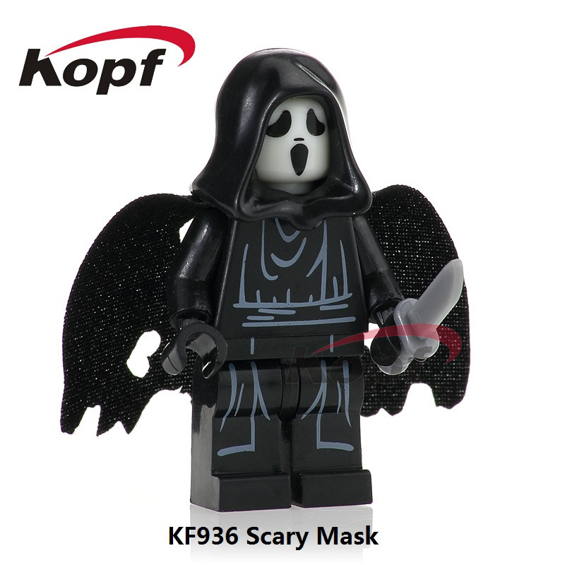 KF936 The Horror Theme Movie Scream Killer Halloween Costume Scary Mask Building Blocks Bricks Collection For Children Gift Toys 2pcs lot harry potter series death eater mask halloween horror malfoy lucius resin masks toy private party cosplay toys gift