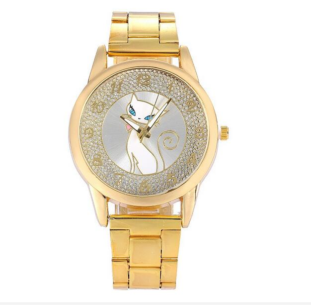 relogio feminino 2016 New cat Pattern Fashion Watch women top Luxury Stainless Steel Quartz wristwatches women gold clock 2017 new fashion tai chi cat watch casual leather women wristwatches quartz watch relogio feminino gift drop shipping