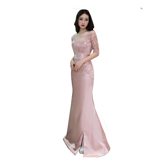 MDBRIDAL Blush Pink Evening Dress with Sleeves Satin Lace Mermaid ...