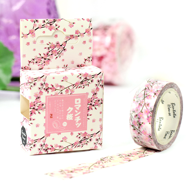 1 pcs DIY Japanese Paper Decorative Adhesive Tape Cartoon Romantic cherry Washi Tape/Masking Tape Stickers Size 15mm*7m large size 200mm 5m map poste letter renaissanc japanese washi decorative adhesive tape diy masking paper tape sticker