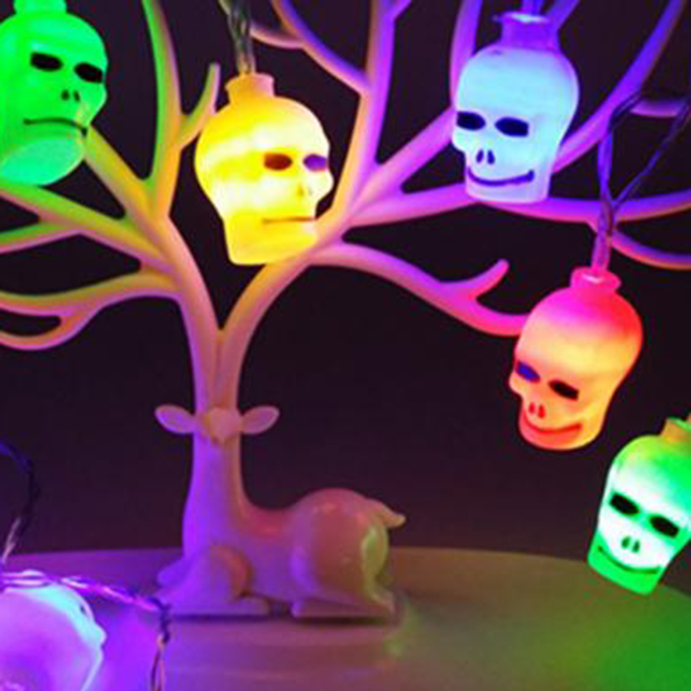 Scary Skull Shaped String Lights LED Garland Halloween Decorative Light Creative Party Hanging Decorations Supplies Prop JQ