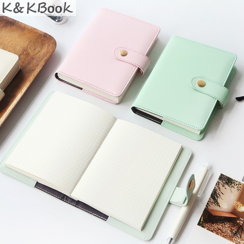 K&KBOOK KK99 Kawaii Leather Notebook A6 Macaron Notebook Diary Grid Paper Personal Diary School Agenda Planner Leather Journal paper high leather journal notebook mini stitched 80 x 105mm