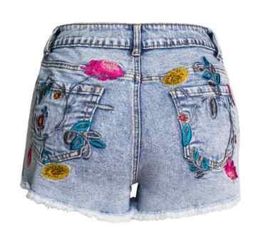 2019 Phụ Nữ Cao Eo Denim 3D Thêu Quần Short Denim Hoa Tassel Punk Phong Cách Người Phụ Nữ Sexy Quần Short Denim Thời Trang Jeans Ngắn k999