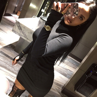 Fashion Autumn Women High Elastic Thread Knitted Dress Long Sleeve Bodycon Stretch Woman Solid Casual Party