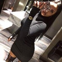 Модные осенние Для женщин высокие эластичные Нитки вязаное платье с длинным рукавом Bodycon Стретч женщина Однотонная повседневная обувь для вечеринки Платья для женщин