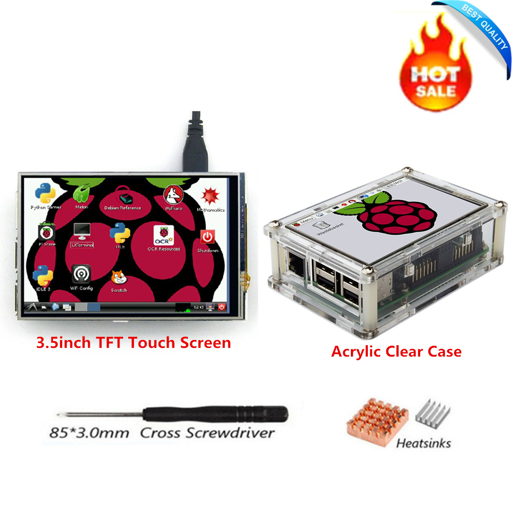 3.5 inch SPI TFT LCD Display Screen with Touch Panel 480*320+Clear Case+Heatsinks+Screwdriver for RPi1/RPi2/raspberry pi3 Board 3 5 inch touch screen tft lcd 320 480 designed for raspberry pi rpi 2