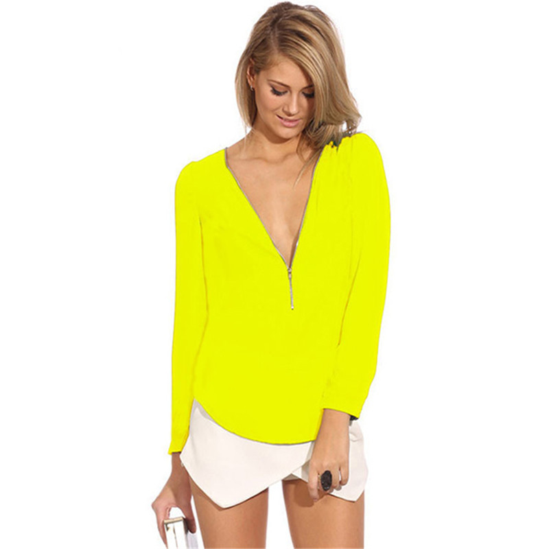 Women Sexy Slim Deep V Chiffon Shirt Girl Long Sleeve Zipper Blouse Tops