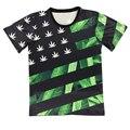 Новый 2016 женская мода/Мужчины печати Сша сорняк флаг 3d т рубашка сорняк цветочные причинно хип-хоп причинные футболки топ уличной M-XXL