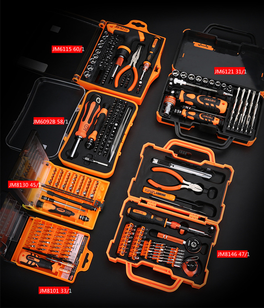 Newest Jakemy 8 Sets Hand Tools Set  Multifunctional Screwdriver Set Pilers  For IPhone Sumsung Computer Camera Home Repair