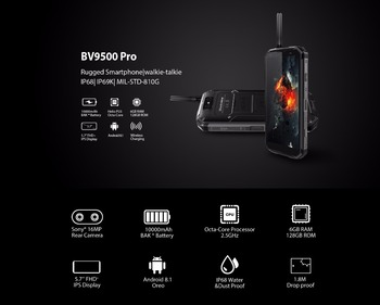 Blackview BV9500 Pro Waterproof Walkie Talkie Smartphone 6GB RAM 128GB ROM Octa Core 5.7″ FHD 18:9 10000mAh Battery Mobile Phone