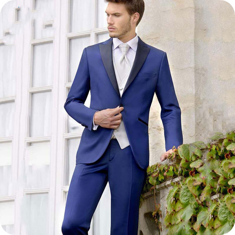 Royal Blue Men Suits For Wedding Suits Bridegroom Slim Fit Formal Prom Custom Made Blazer Tuxedo Best Man Costume Homme 3Pieces