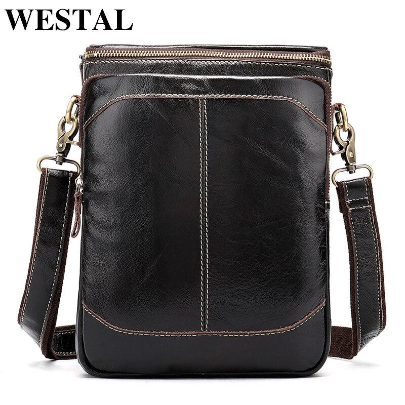 WESTAL Genuine Leather Messenger bag men's shoulder bag male