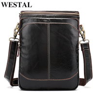 WESTAL Genuine Leather Messenger bag men's shoulder bag male leather handbag Casual new design bags for men crossboday new 8003
