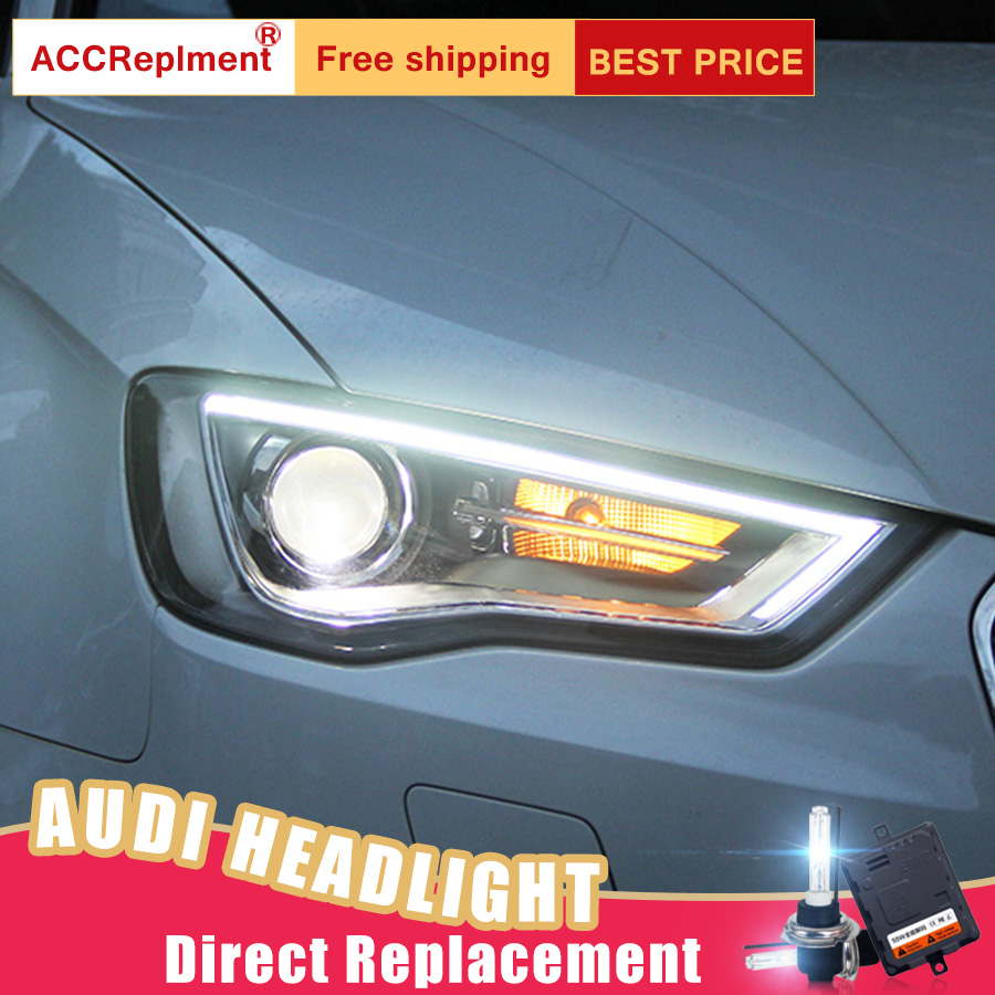 2Pcs LED Headlights For Audi A3 2014-2016 led car lights Angel eyes xenon HID KIT Fog lights LED Daytime Running Lights 1pcs universal waterproof abs plastic 318x236x155mm junction box project enclosure diy outdoor electrical connection cable box