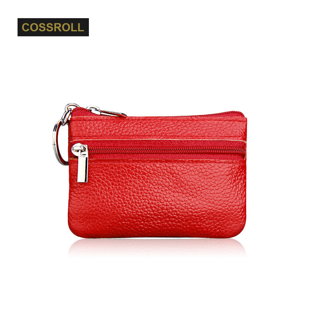 High Quality Genuine Leather Women Mini Wallet Cowhide Leather Coin Purse Coin Credit Card Holder With Metal Ring Men Money Bag joyir vintage men genuine leather wallet short small wallet male slim purse mini wallet coin purse money credit card holder 523