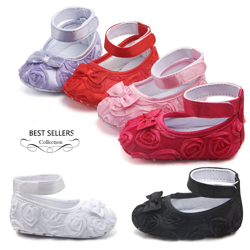 Pure color rose baby walking shoes princess shoes baby shoes