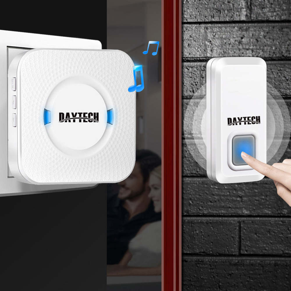 DAYTECH Wireless Doorbell Ring Door bell Chime 1 Remote Button and 1 Plug in Receiver Waterproof Chime Kit LED Indicator