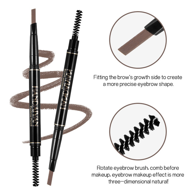 Handaiyan dual ended automatic eyebrow pencil waterproof long lasting grey black eyebrow pomade microblading tattoo pen HF110 4