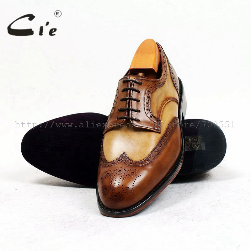 cie Free Shipping Bespoke Custom Handmade Adhesive Calf Leather Men Shoe Derby Round Toe Leather Outsole Mix Colors Flats D151