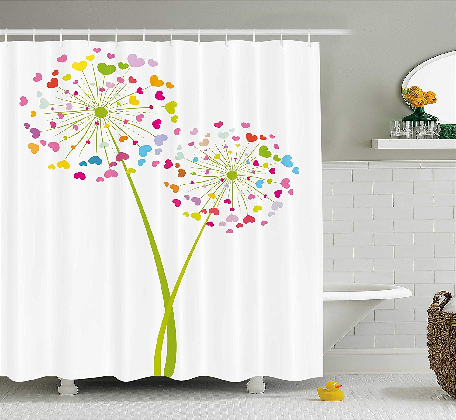 Floral Shower Curtain, Spring Dandelion Flower with Heart Shaped Colorful Petals Romance Love Valentines, Bathroom Decor