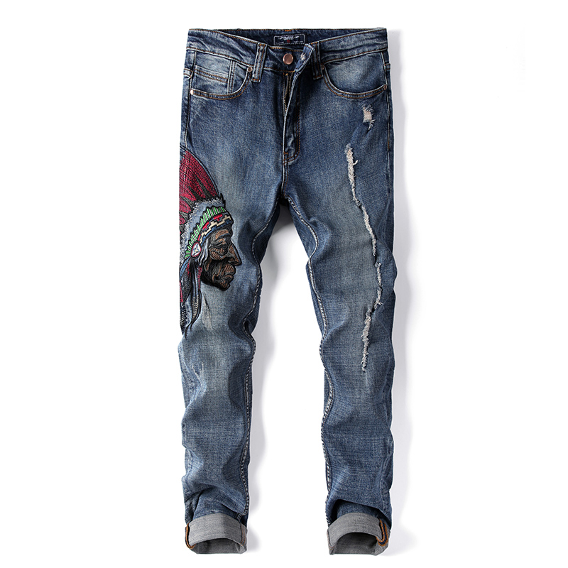 New Men's Jeans High Quality Designer Fashion Indians Embroider Retro Ripped Slim Street Straight Jeans Plus Size AY1701