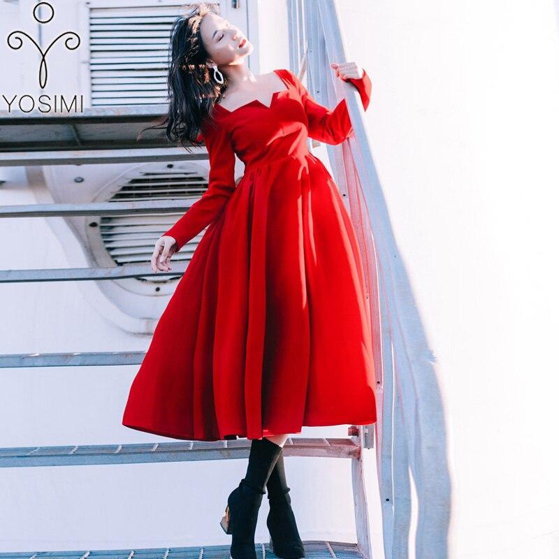 Kadın Giyim'ten Elbiseler'de YOSIMI 2019 Bahar Uzun Kadın Elbise Kadife Midi Elbise Kadınlar için Vintage Tam Kollu Ayak Bileği Uzunlukta Kadın Vestido Kırmızı elbise'da  Grup 1