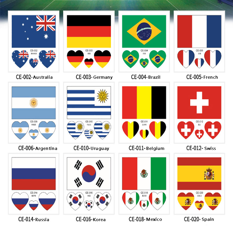 10PCS Russia 2018 World Cup Tattoo Stickers Football Stickers Waterproof Flag Tattoo Stickers Heart-shaped on Face Arm 32 Teams ...