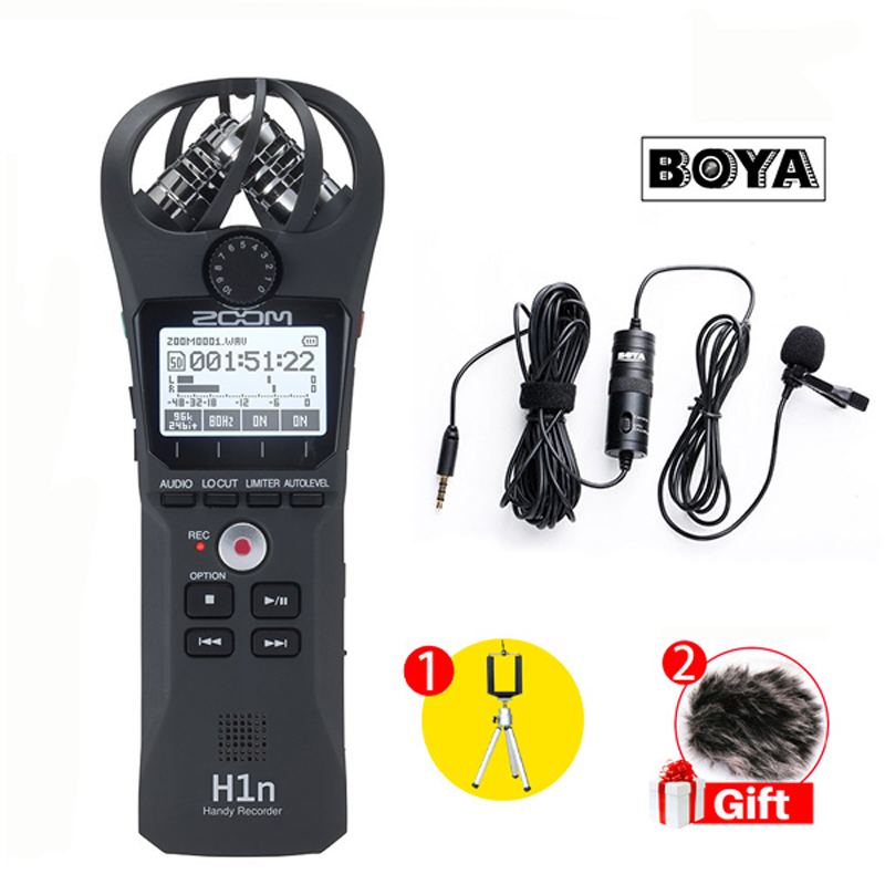 Zoom H1N Handy Portable Digital Recorder With BOYA BY-M1 Lavalier Microphone For Smartphone Camera digitalfoto professional portable four track zoom h4nsp handy recorder digital audio recorder microphone for interview