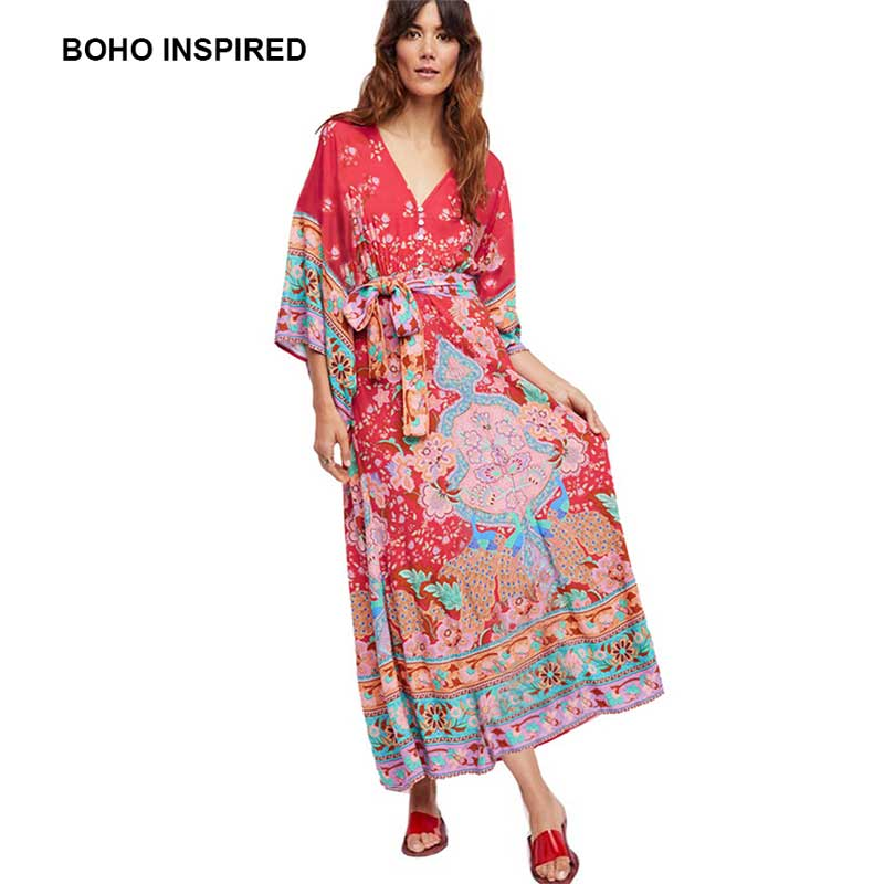 1a969b92e953 BOHO INSPIRED kimono dress floral print buttons front V neck sashes wrap summer  dresses red vintage long women maxi dress 2018-in Dresses from Women s ...
