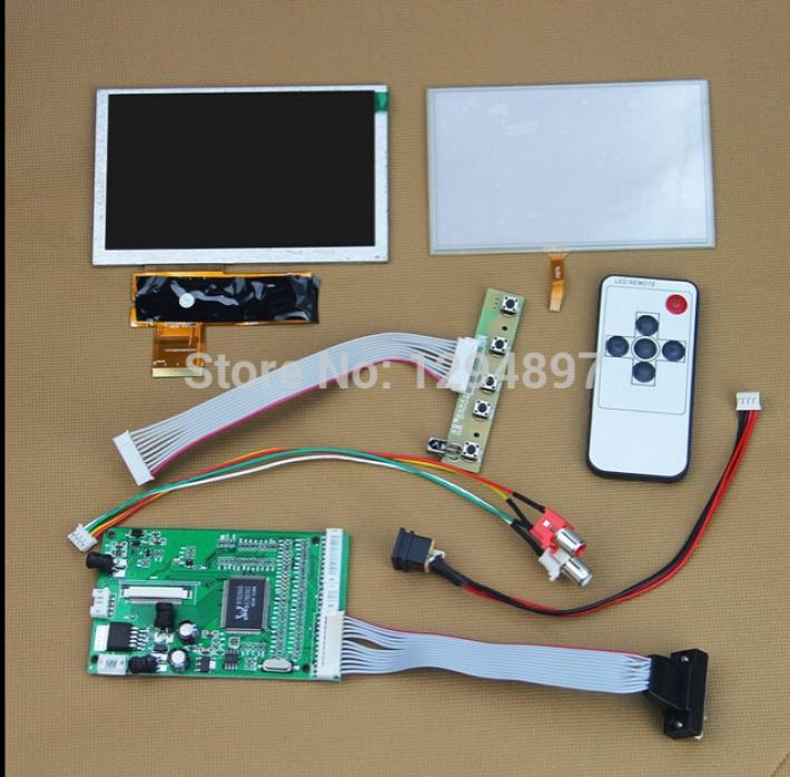 5 inch 800x480 TFT LCD Color  Display + VGA AV Video Controller Board With Touch Screen aa084vc03 original 8 4 inch 640 480 vga tft replacement lcd screen display