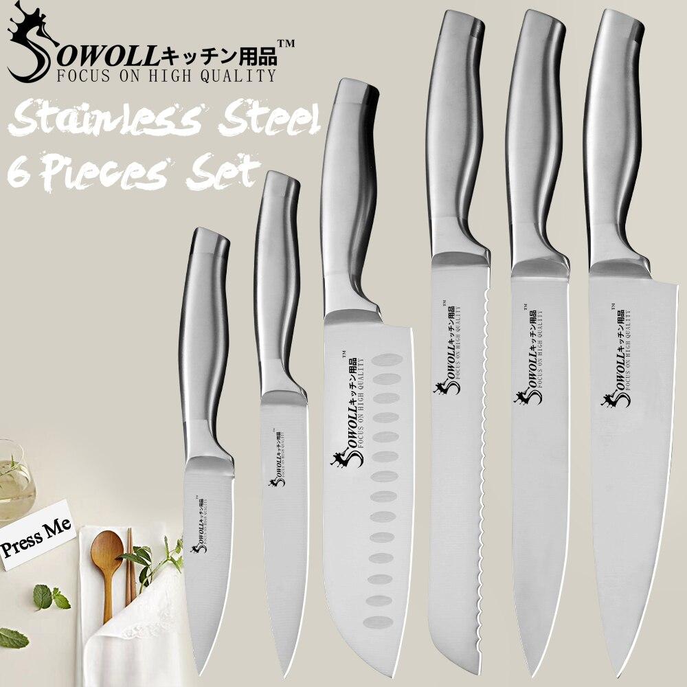 SOWOLL מטבח סכין 6 יחידות סט נירוסטה סכין שף אור משקל ידית חלקה ריתוך בישול אביזרי חדש הגעה