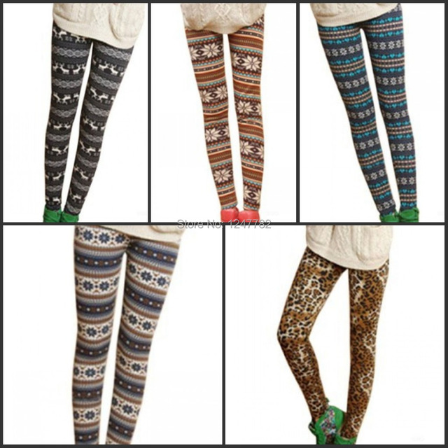 Super Deals Teenloveme Women Winter Leggings Nordic Snowflake Cozy
