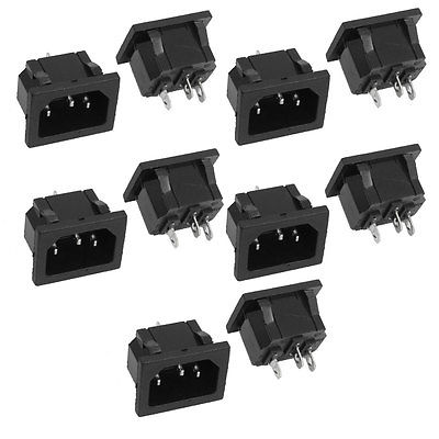 10 Pcs AC 250V 10A Snap In 3 Pins C14 Male Plug Power Inlet Socket Adapter Black 5pcs lot high quality 2 pin snap in on off position snap boat button switch 12v 110v 250v t1405 p0 5