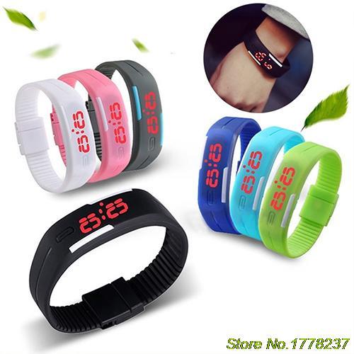 Men's Women's Silicone Red LED Sports Bracelet Touch Watch Digital Wrist Watch  4VOP