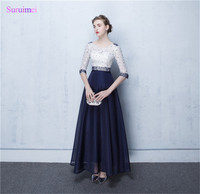 Contrast Ivory And Navy Blue Evening Dresses New Design With Half Sleeves Lace Beaded See Through