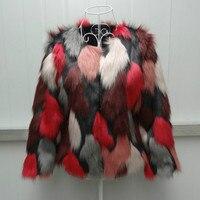 Faux Fox Fur Coat Red Camouflage Faux Mink Fur Jacket Hit Color Fur Grass Bomber Mixed Color Mink Fur Cardigan Outwear Tops 2018