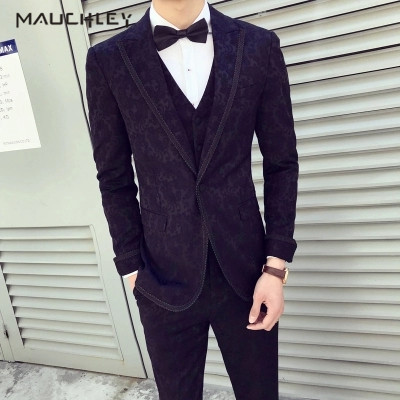 Men Suit Slim Fit 3 Pieces Complete Suits For Men Wedding Black Floral Jacquard Groom Tuxedo Terno Quality Luxury 2019 Mauchley