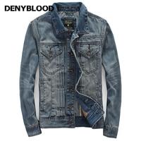 Denyblood Jeans Autum Winter Denim Jacket Men Outerwear Fashion Casual Coats Slim Fit Cotton Pleated Vintage