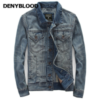 Denyblood Jeans Autum Winter Denim Jacket Men Outerwear Fashion Casual Coats Slim Fit Cotton Pleated Vintage