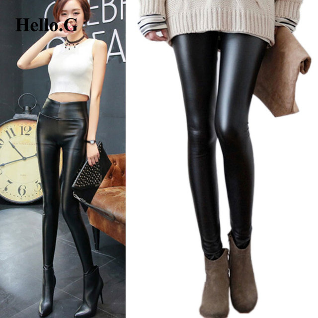 2016 Spring Plus Size XXXXL Slim High Waist PU Leather Pants Women Trouser Black Stretch Fitness Leggings For Women
