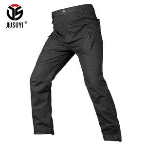Image 3 - IX9 Men Tactical Pants Combat Cargo Army Zipper 9 Pocket Flexible Casual Cotton Trousers Black Active waterproof Military Pants